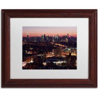 "Trademark Fine Art ""Midtown From Queens"" Canvas Art by David Ayash, White Matte, Wood Frame"