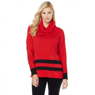 Wendy Williams Cowl Neck Striped Pullover Top   7832033