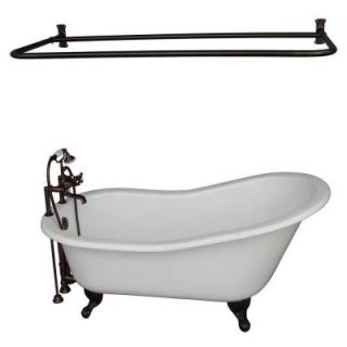 Barclay Products 5 ft. Cast Iron Ball and Claw Feet Slipper Tub in White with Oil Rubbed Bronze Accessories TKCTSH60 ORB6