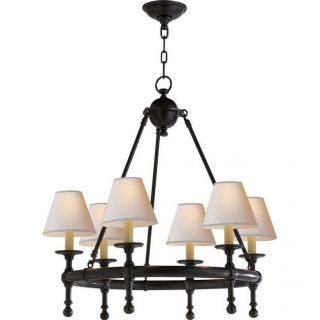 Visual Comfort SL5814 Studio Sandy Chapman 6 Light Classic Mini Ring Chandelier with Natural Paper Shade