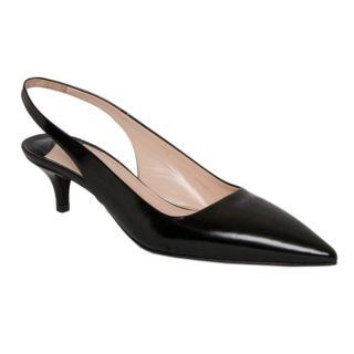 Prada Womens Black Spazzolato Leather Slingback Pumps   16345042