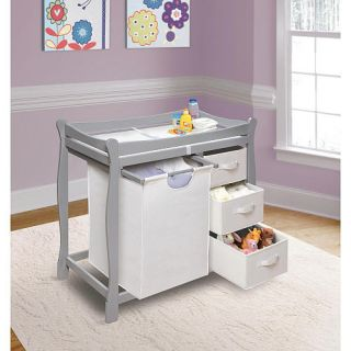 Badger Basket Sleigh Style Changing Table with Hamper and 3 Baskets   Gray    Badger Basket Toys