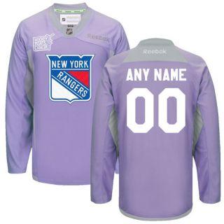 Reebok New York Rangers Purple Custom 2016 Hockey Fights Cancer Practice Jersey