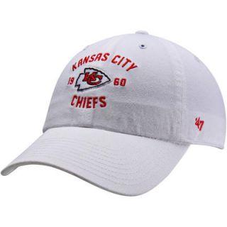 47 Brand Kansas City Chiefs Underhill Slouch Adjustable Hat   White