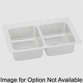 Elkay LRQ2922MR2 Lustertone 29 Top Mount Double Bowl 2 Hole Middle Right Stainless Steel Sink