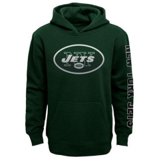 New York Jets Youth Hourglass Pullover Hoodie   Black
