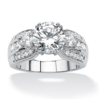 Palm Beach Jewelry Platinum/Silver Round Cubic Zirconia Accent Ring