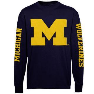Michigan Wolverines Back To Basics Long Sleeve T Shirt   Navy Blue