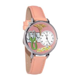 Whimsical Womens Nurse 2 Theme Pink Leather Strap Watch   13418867