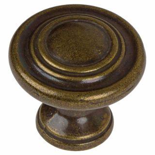 GlideRite 1.25 inch Antique Brass 3 Ring Round Cabinet Knobs (Pack of