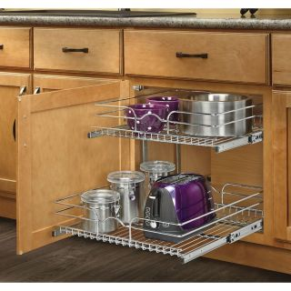 Rev A Shelf 20.75 in W x 19 in H Metal 2 Tier Pull Out Cabinet Basket