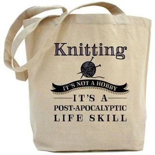 CafePress Knitting: A Post Apocalyptic Life Skill Tote Bag