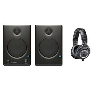 "CERES C4.5 BT A PreSonus PreSonus Ceres C4.5BT Two Way 4.5"" Powered Studio Monitor Speaker with Bluetooth, Bundle With Audio Technica ATH M50x Pro Monitor Headphones, Black"