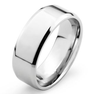 Mens Stainless Steel High Polished Domed Wedding Band Ring (8mm)