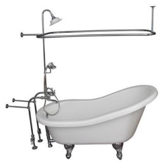 Barclay Products 5 ft. Acrylic Ball and Claw Feet Slipper Tub in White Polished Chrome Accessories TKADTS60 WCP4