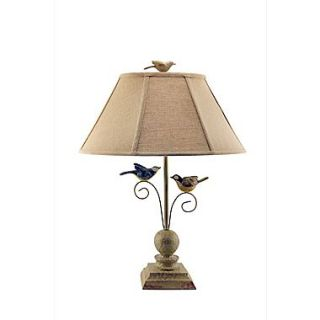 AHS Lighting Fly Away Together Table Lamp With Tan Woven Fabric Shade