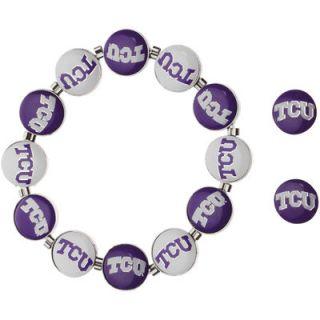 TCU Horned Frogs Womens Post Earrings and Stretch Bracelet Set
