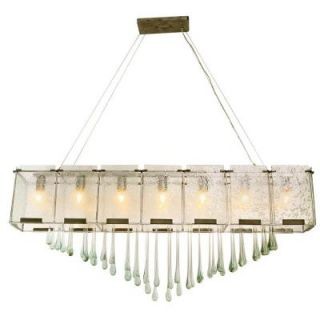 Varaluz 7 Light Pewter Linear Pendant with Rain Glass and Raindrops 160N07RND