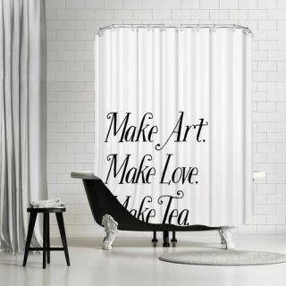 Make Art Make Love Make Tea Shower Curtain by Americanflat