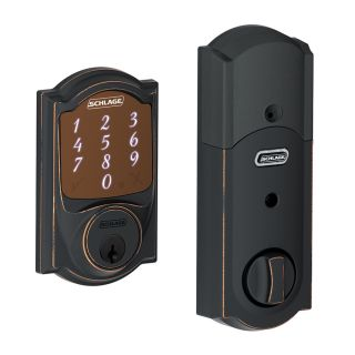 Schlage Sense Camelot Aged Bronze Single Cylinder Motorized Touchscreen Electronic Entry Door Deadbolt with Keypad