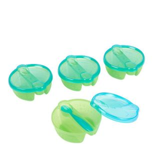 Babies R Us Reusables Divided Bowl with Spoon 4 Pack   Green    Babies R Us