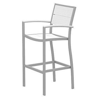 Trex Surf City 46 Bar Stool; Textured Silver/Classic White