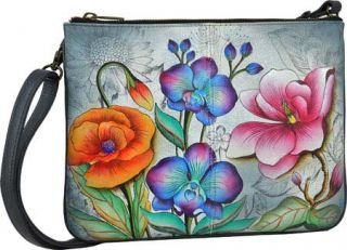Womens Anuschka Hand Painted Triple Compartment Crossbody   Floral Fantasy