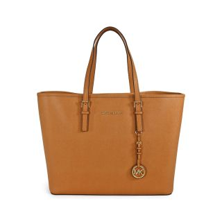 Michael Kors Saffiano Leather Medium Travel Tote   Peanut