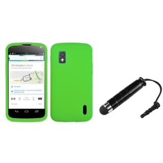 INSTEN Solid Electric Green Skin Phone Case Cover/ Stylus for LG Nexus