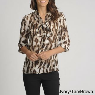 Thesis Womens Animal Print Tie neck Sheer Blouse