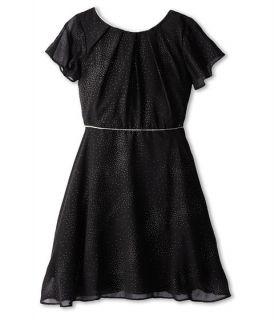 Us Angels Flutter Sleeve Bow Back Dress W Full Skirt Big Kids Black, Black