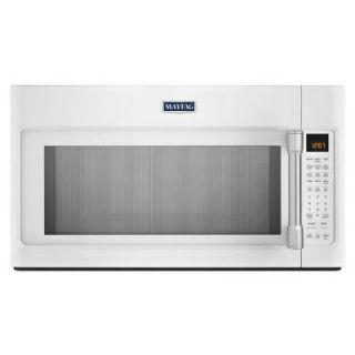 Maytag 1.9 cu. ft. Over the Range Convection Microwave in White with Stainless Steel Handle with Sensor Cooking MMV6190DH