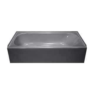 Style Selections Silver Metallic Acrylic Oval in Rectangle Skirted Bathtub with Left Hand Drain (Common: 27 in x 54 in; Actual: 14 in x 27 in x 53.875 in)
