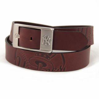 New York Yankees Brandish Leather Belt   Brown