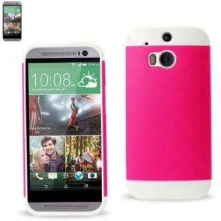 REIKO HTC ONE M8 HYBRID CASE WITH CARD HOLDER IN WHITE HOT PINK