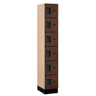 Salsbury Industries 36000 Series 12 in. W x 76 in. H x 18 in. D 6 Tier Box Style Designer Wood Locker in Mahogany 36168MAH