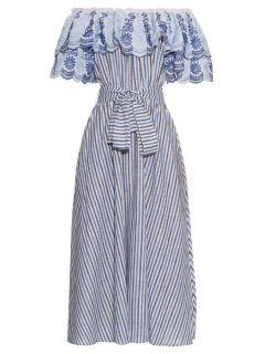 Off the shoulder ruffle trimmed striped midi dress  Gül Hürgel US