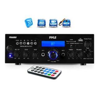 Pyle PDA6BU 200 watt Bluetooth/ FM Radio/ USB/ SD Card/ AUX Stereo Amplifier Receiver with Microphone Inputs