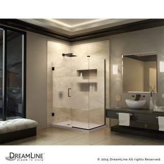 Dreamline SHEN 24345340 HFR Unidoor Plus 34 1 2 W x 34 3 8 D x 72 H Hinged Shower Enclosure with Half Frosted Glass Door
