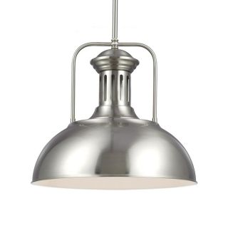 Sea Gull Lighting Beacon Street 15.75 in W Brushed Nickel Vintage Pendant Light with Metal Shade ENERGY STAR