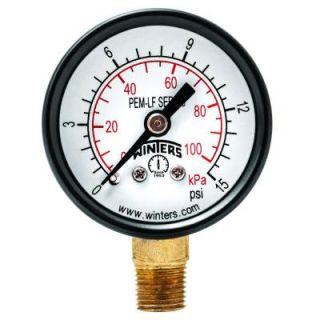 Winters Instruments PEM LF Series 1.5 in. Lead Free Brass Pressure Gauge with 1/8 in. NPT LM and 0 15 psi/kPa PEM1299LF