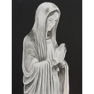 Mother Mary Statue by Ed Capeau Painting Print on Wrapped Canvas by