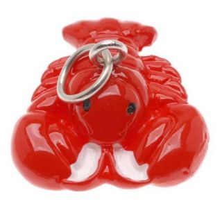 Hand Painted 3 D Cute Red Lobster Charm 16mm Lightweight (1)