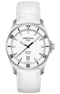 Certina DS First Ceramic Genuine White Leather Mens Quartz Watch
