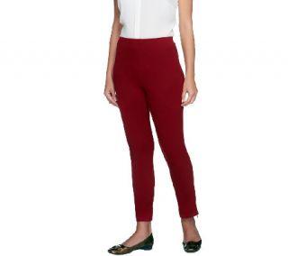 Women with Control Petite Slim Leg Ankle Pants w/ Zipper —