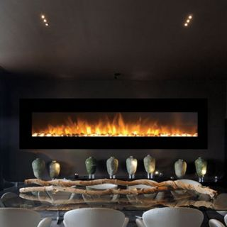 Moda Flame Grand Wall 95 in. Electric Wall Mounted Fireplace   Fireplaces