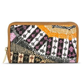 Womens Tribal Print Wallet with Zipper Closure   Black & Orange
