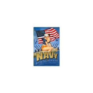Past Time Signs VXL027 Navy Pinup Girls Metal Sign
