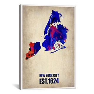 iCanvas New York City Watercolor Map I by Naxart Graphic Art on Canvas; 61 H x 41 W x 1.5 D