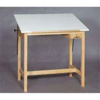 SMI U2436 37A Unfinished Oak Wood Drafting Table, 24 X 36 inch